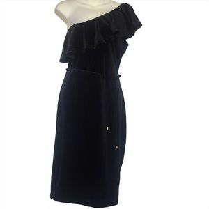 Another Story One Shoulder Black Velour Dress XL
